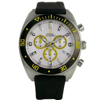 National Geographic Mens Globetrotter II Silver Dial Leather Strap