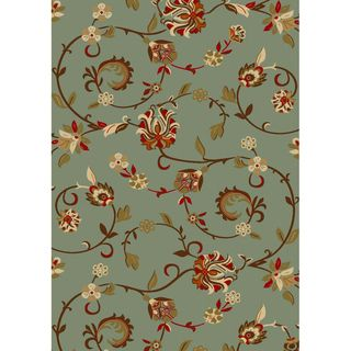 Oriental Swirls Non skid Rubber Backing Light Blue Runner Area Rug (20
