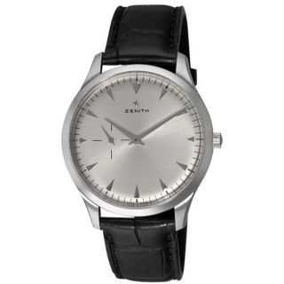 Zenith Mens Elite Ultra Thin Silver Dial Leather Strap Watch