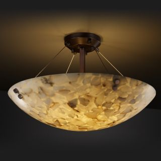 light Round Alabaster Rocks Dark Bronze Semi flush Fixture Today $