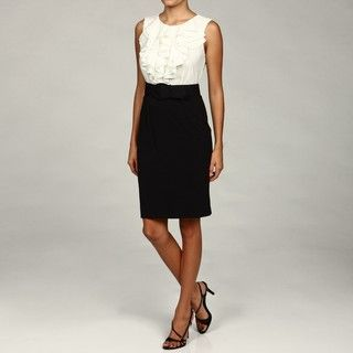 Spense Womens Black Ruffle Belted Dress