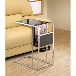 Black Chrome Finish Snack Side End Magazine Table