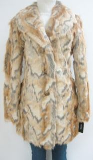 Guess Faux Fur Walker Coat, Jacket, Natural, Large, Mf422