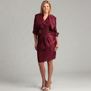 Jessica Howard Womens Wine Pleated 2 piece Plus Dress