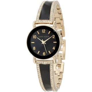 Anne Klein Womens Black Leather Quartz Watch
