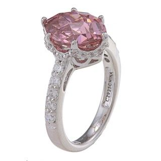 Tacori IV Platinum over Silver Pink Cubic Zirconia Epiphany Ring