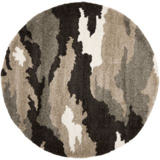 Hand woven Ultimate Beige/ Brown Shag Rug (6 7 Round)