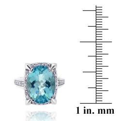 Glitzy Rocks Rhodium plated Blue Topaz and Cubic Zirconia Ring