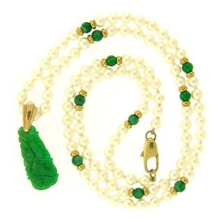 Mason Kay 14k Gold Green Jadeite and Freshwater Pearl Necklace (4 mm