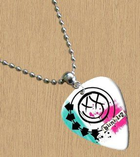 Blink 182 (White) Premium Guitar Pick Necklace Musical