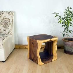 Monkey Pod Wood 16 inch Cube End Table (Thailand)