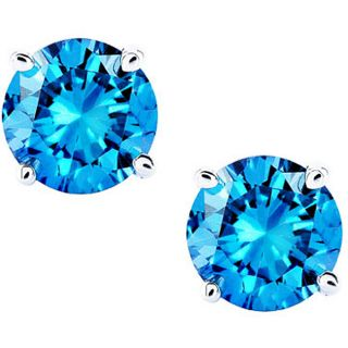 14k White Gold 2ct TDW Blue Diamond Stud Earrings (I1 I2)