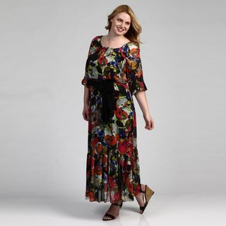 Jessica Howard Womens Watercolor Maxi Dress FINAL SALE