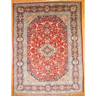 Persian Hand knotted Isfahan Red/ Navy Wool Rug (10 x 135