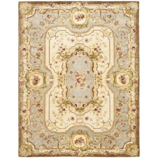 Handmade Aubusson Plaisir Ivory/ Light Blue Wool Rug (96 x 136