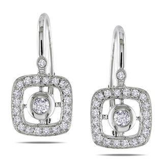 Miadora 14k White Gold 1/2ct TDW Diamond Leverback Earrings (G H, SI1