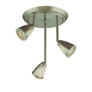 Hampton Bay 3 Light Staggered Brushed Steel Ceiling Fixture
