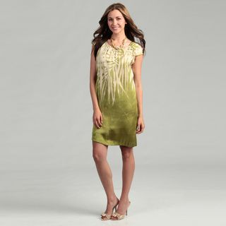 Kenneth Cole Womens Lime Palm Print Dress FINAL SALE