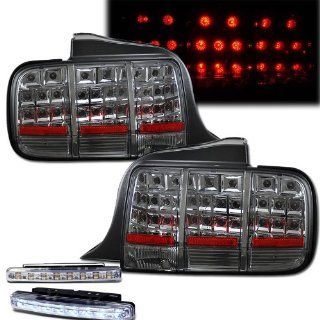 2005 2009 FORD MUSTANG REAR BRAKE TAIL LIGHTS LAMPS SMOKED+LED BUMPER