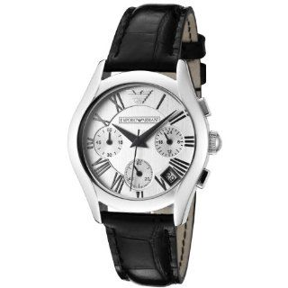 Emporio Armani Womens AR0670 Chronograph Silver Dial Black Leather