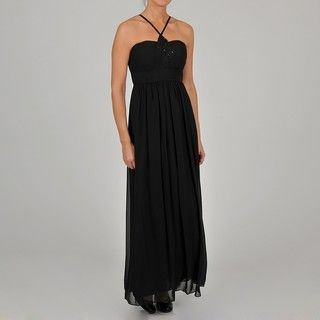 Oleg Cassini Womens Beaded Halter Neck Chiffon Evening Gown