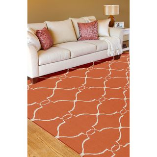 Hand Woven Prep Orange Wool Rug (5 x 8)