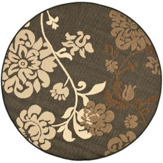 Indoor/ Outdoor Black/ Brown Rug (53 Round)