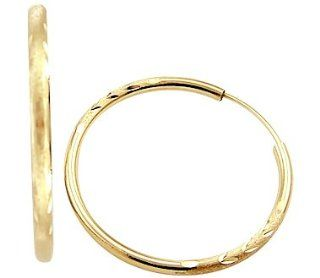 14k Yellow Gold Diamond Cut Large Hoop Earrings 1.75