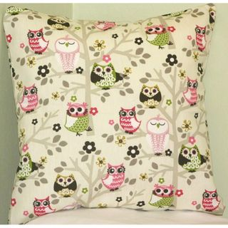 Taylor Marie Sit n Tree Hooty Owl Cotton Pillow Cover