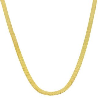 10k Two tone Gold 18 inch Reversible Herringbone Chain Necklace (3 mm