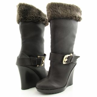 Dereon by House of Dereon Womens Brown Party Faux Fur Trimmed Boots