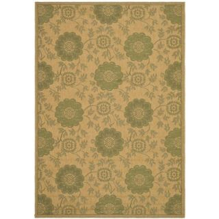 Indoor/ Outdoor Natural/ Green Rug (9 x 12)