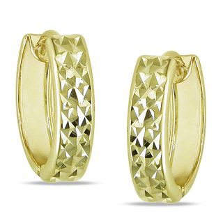 Miadora 10k Yellow Gold Diamond Cut Hoop Earrings