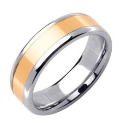 14k Two tone Gold Mens Polished Wedding Band